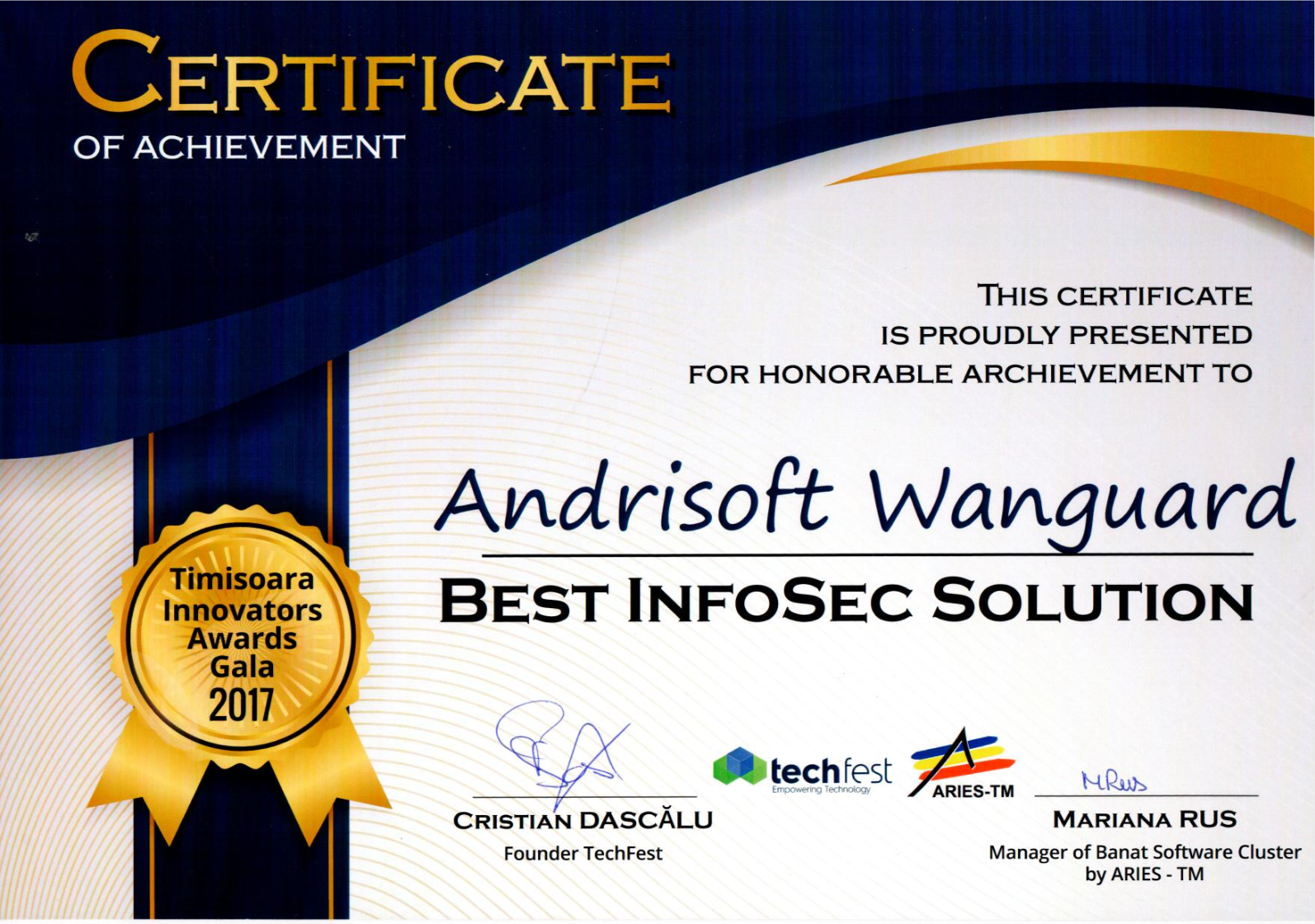 Andrisoft Wanguard won Best InfoSec Solution award
